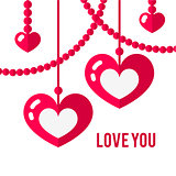 Happy valentines day card with red flat pair of hearts isolated on white background.