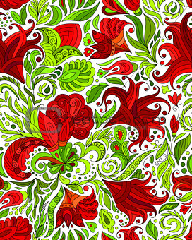 Abstract seamless ornamental pattern. Indian hand drawing background. Vector stock illustration