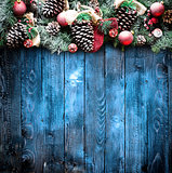 Merry Christmas Frame with Snow and real wood green pine