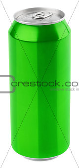 Green aluminum beer can