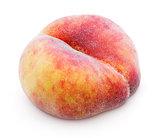 Chinese flat donut peach on white