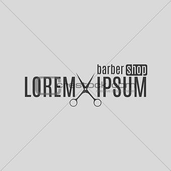 Grey emblem barber shop, vector illustration.