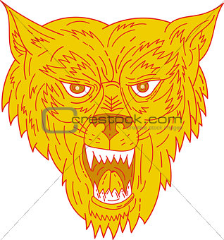 Angry Wolf Head Mono Line