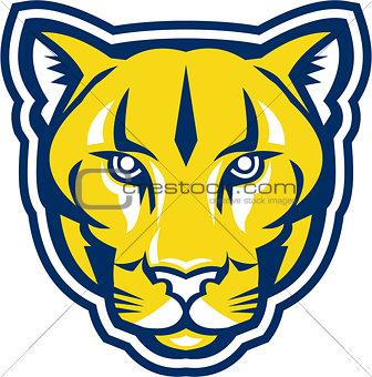 Cougar Mountain Lion Head Retro