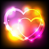 Glowing Lights Hearts Background Illustration