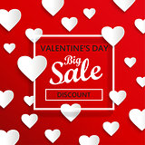Valentines day big sale background, vector.