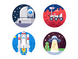 Pixel perfect space icons set