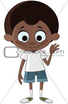 Black kid waving