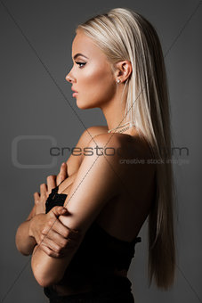 blond hair on grey