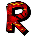 Letter R filled with comic book background.