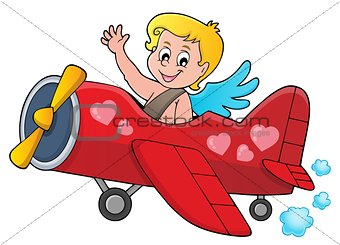 Airplane with Cupid theme image 1