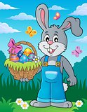Bunny holding Easter basket theme 3