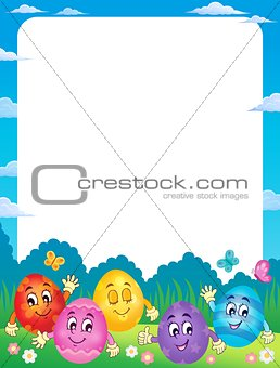 Frame with happy Easter eggs 1