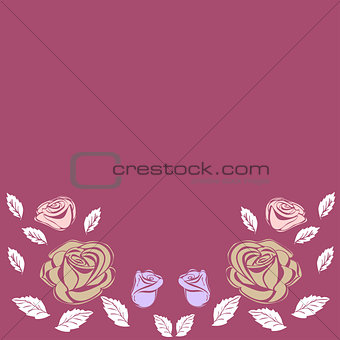 Greeting card roses wedding birthday holiday background.