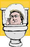 Smirking Donald Trump in Toilet Bowl