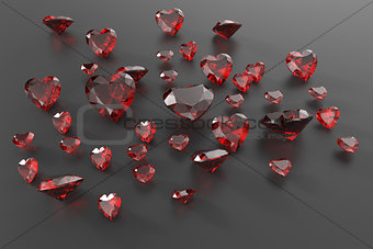 Background with red gemstones. 3D illustration
