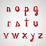 Alphabet with small red folded paper letters template