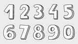 Hand drawn vector white numbers
