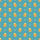 Tile vector pattern with easter eggs and polka dots on blue background