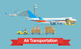 Air cargo transportation concept.