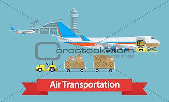 Air cargo transportation concept.