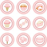 Set of candy shop pink round sticker
