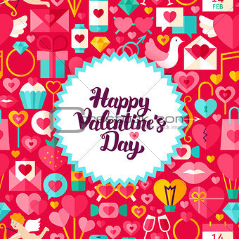Flat Valentines Day Postcard