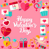 Happy Valentine Day Lettering Postcard