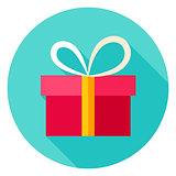 Present Box Circle Icon
