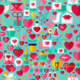 Valentine Day Blue Seamless Pattern