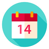 Valentine Day Calendar Circle Icon