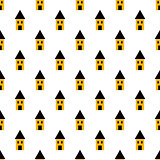 Simple yellow and black houses seamless pattern.