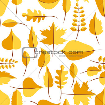 Autumn yellow withered leaves seamless pattern.