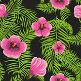 Tropical jungle palm leaves hibiscus pattern.