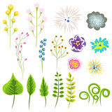 Wild flower and leaves vector set clip art.
