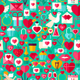 Valentine Day Green Seamless Pattern