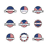 Set of stamps with USA flags