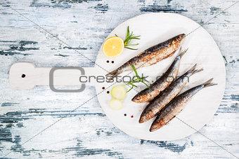 Grilled sardines.