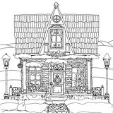 Hand drawn vector stock illustration of house