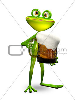 3D Illustration Frog with a Glass of Beer