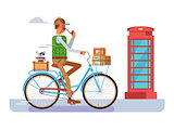 Retro postman on a bicycle