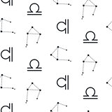 Libra constellation seamless vector pattern.