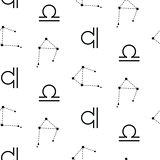 Libra constellation seamless vector pattern.
