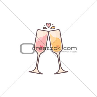 Champagne glasses with hearts inside.