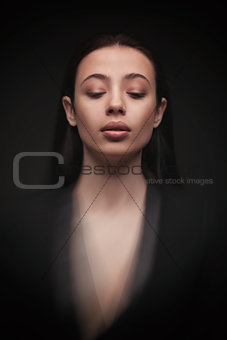 portrait young elegant woman in black jacket