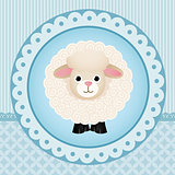 Cute sheep over blue background