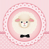 Cute sheep over pink background