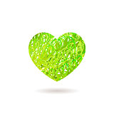 Hand drawn Heart symbol. Vector calligraphy Green symbol