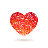 Hand drawn Heart symbol. Vector calligraphy Red symbol