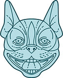 Boston Terrier Laughing Circle Mono Line